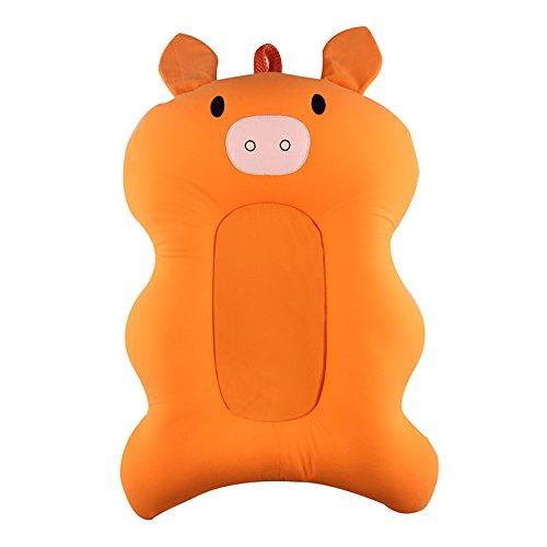 Lulalula - Cuscino per vasca da bagno, per neonati e neonati, comodo cuscino per vasca da bagno e doccia, antiscivolo, per 0-6 mesi (arancione)
