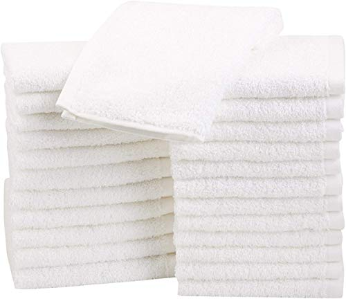 Amazon Basics - Asciugamani in cotone, confezione da 24, Bianco