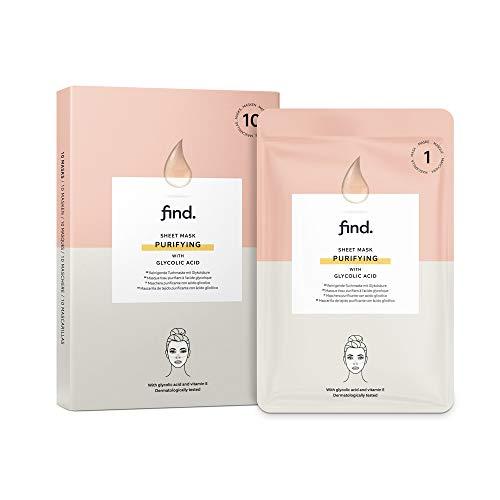 FIND - Maschera hydrogel purificante in fogli, con acido glicolico, confezione da 10