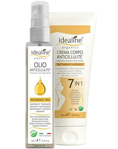 Olio Anticellulite Professionale 7in1 BIO Cellulite e Smagliature Spray Intensivo 200ml Idealine - 10 Oli Essenziali e Oli Naturali 100% Made in Italy
