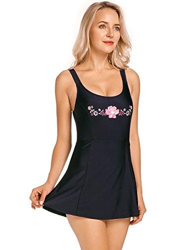 DELIMIRA Donna Costume da Bagno Stampato con Gonna Abito a Nuotare Nero 48