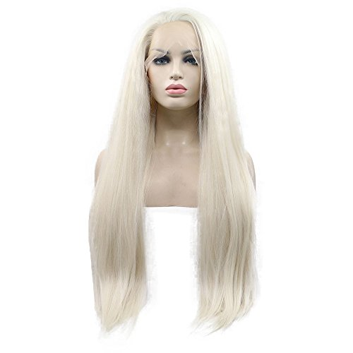 61 cm # 60 biondo platino Yaki straight synthetic Lace Front Wigs 180% Density riga free Natural Half Hand Tied Heat Resistant Fiber Hair per donna