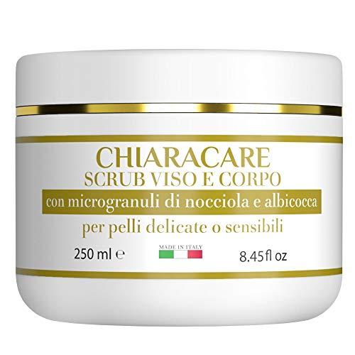 CHIARACARE | Scrub Corpo Esfoliante Viso | Scrub Corpo Anticellulite con Albicocca e Microgranuli di Nocciola Specifico Per Pelle Delicata e Sensibile | 250 ml Made In Italy