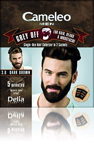 Cameleo, tinta monouso in 2 bustine per capelli, barba e baffi, da uomo, 5 minuti contro i capelli grigi Effetto colore naturale. 0% Parabeni, Ammoniaca, PPD.