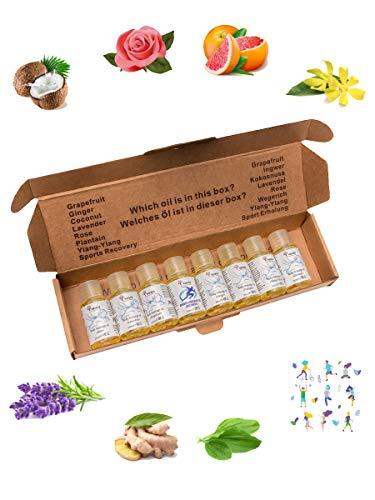 Verana Set di Olio da Massaggio Cocco, Lavanda, Rosa, Zenzero, Pompelmo, Ylang Ylang, Piantaggine, Recupero, Naturale, Senza OGM, Per il Corpo, Aromaterapia 20 ml x 8 pz