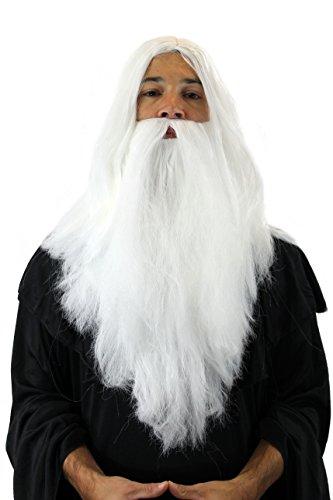 WIG ME UP Set Parrucca e Barba; Stregone Mago bianco Babbo Natale