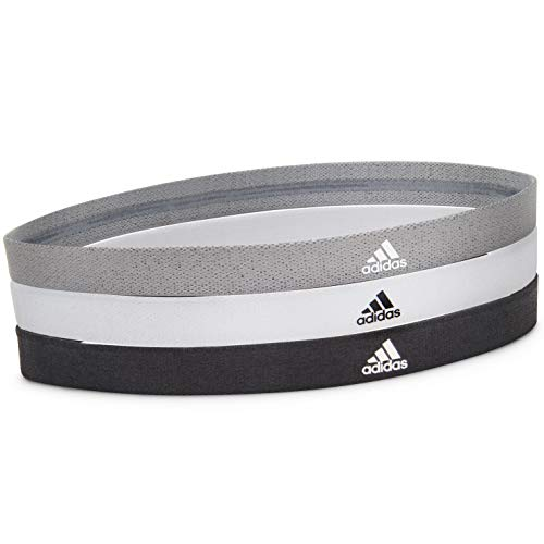 adidas Sports Hair Bands Sports Hair Bands Unisex-Adult, Nero, Bianco, Grigio, Taglia Unica