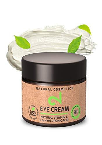 DUAL Eye Cream | Crema Contorno Occhi 100% Naturale|Vitamina C Naturale e Acido Ialuronico: Microalghe e Broccoli|Idratazione Cutanea|Crema Anti-età Organica|Certificato|25 ml|Fatto in Germania