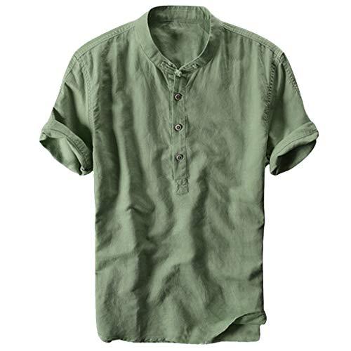 T Shirts Il Colletto Fresco e Traspirante da Uomo Estivo, la Camicia di Cotone, la Maglia a Maniche Corte (XL,Army Green)