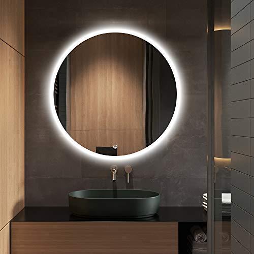 S·BAGNO - Specchio da bagno rotondo con LED illuminato, diametro 600 mm, con altoparlante Bluetooth integrato, funzione di oscuramento, disappannamento e interruttore touch