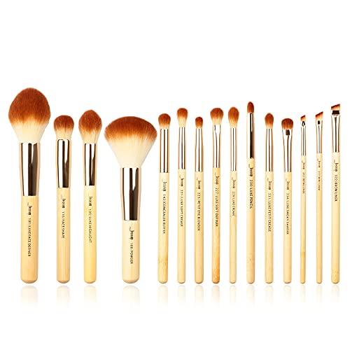 Jessup T142 - Set di 15 pennelli da trucco con manico in legno, per fondotinta, ombretto, rossetti, tampone in fibra di bambù
