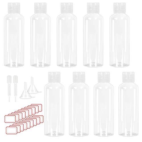 CHIFOOM 9 Pezzi 100 ml Bottiglia per Lozione Vuota,Set di Flaconi da Viaggio Imbuto e Contagocce e Etichetta Disinfettante per le Mani Cosmetico Shampoo Gel Doccia Viaggio