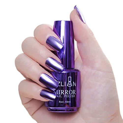Smalto per unghie metallizzato, effetto specchio, non tossico, a lunga durata, 18 ml, 9 #