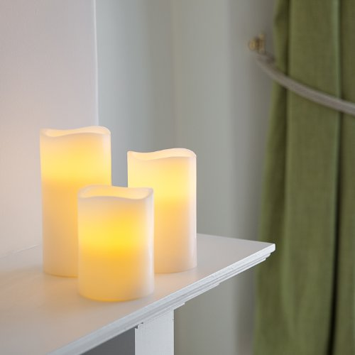 Lights4fun Set di 3 Candele LED a Pile in Vera Cera con Bordi Irregolari