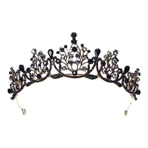 Minkissy - Tiara in stile barocco gotico con corona e strass, per Halloween, cosplay