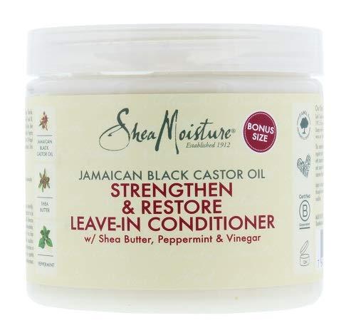 Shea Moisture - Olio di ricino Jamaican Black, balsamo senza risciacquo per rafforzare, far crescere e risanare i capelli, 431 ml