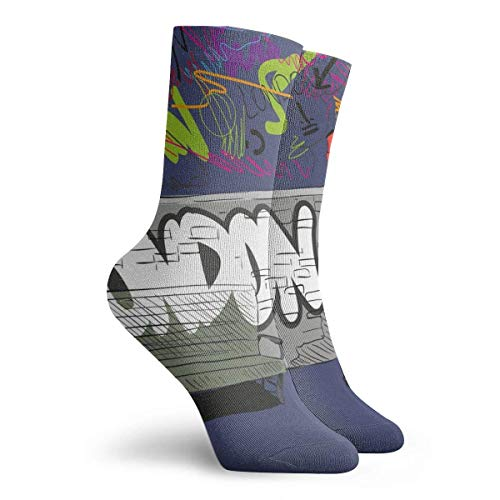 hgfyef Socks for Women Size 10-12,Hand Drawing Red English Phone Booth, Vector Illustration