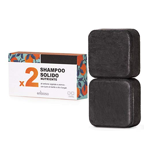 Shampoo Solido Bio Purificante e Nutriente al Carbone Vegetale - Enooso - 100% Artigianale Biologico Naturale Vegano - Made in Italy