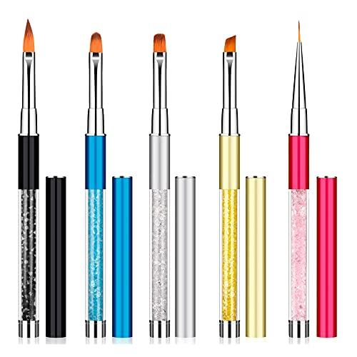 5 Pezzi Pennelli Nail Art per Unghie Set di Pennelli Unghie Nail Art Professionali in Gel UV, Pennelli Unghie Gel Nail Art per Unghie di Cristallo, Manicure Francese e Nail Fai Da Te ZITFRI