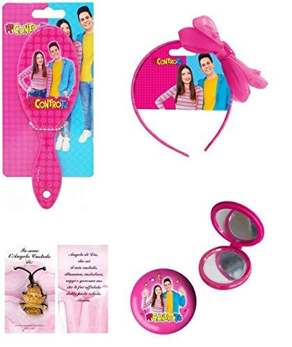 Me contro te set Gadget Accessori Per Capelli & Beauty Elastici Specchietto Spazzola Frontino con fiocco farfalla 3 pezzi con Bracciale Ciondolo Angelo Rosa