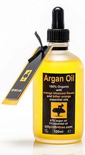 Olio di Argan puro con fiori d'arancio e oli essenziali di arancio amaro.100% biologico. 100ml per viso, corpo, capelli.