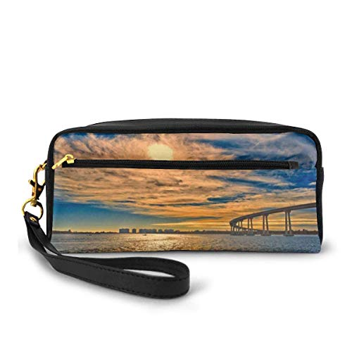 Yuanmeiju USA, Ca, San Diego Coronado Bay Bridge Stone Coaster Cosmetic Bag Portable Students Astuccio for Girls Women Handbag Purse Make Up Pouch