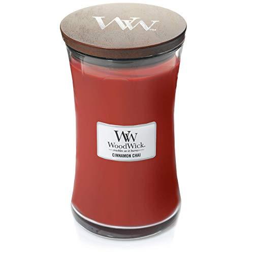 Woodwick Hourglass Candela Profumata Grande Con Stoppino Scoppiettante, Chai Alla Cannella, Fino A 130 Ore, Rosso (Chai alla cannella), Grande