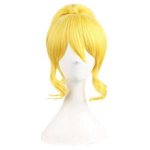 MapofBeauty Parrucca, essere sistemata a doppia coda di cavallo, accessori per capelli, parrucca per cosplay, Colore Gialla