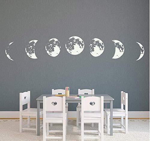 Adesivo Murale Fasi Lunari Decorazione Domestica 42X80cm, Tatuaggio Rimovibile In Vinile In Pvc Per La Decorazione Del Soggiorno