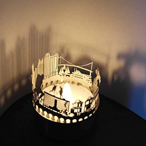 13 grammi Detroit skyline candela votiva regalo souvenir, 3D in acciaio inox silhouette per un tea light biglietto di auguri incluso