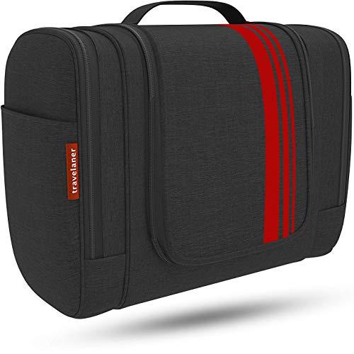 Travelaner Beauty case [Design 2021] - Beauty case da appendere per donne, uomini e bambini, grande borsa per cosmetici da 7 litri, per uomini e donne (Negro/Rosso)
