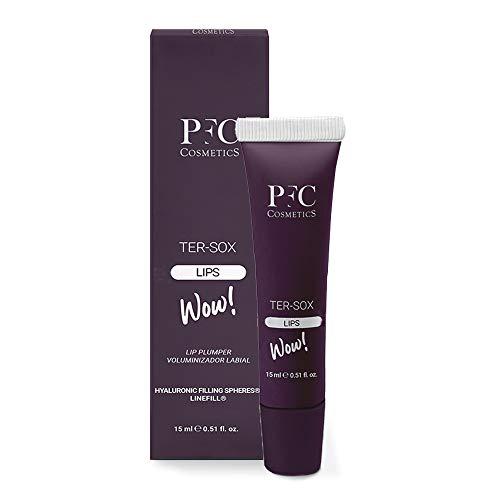 PFC Volumizzante labbra Ter Sox Wow Lips 15 ml Balsamo ridensificante con olio d'oliva Glyceryl Tricaprylate Linefill® GINSENG e Hyaluronic Filling Spheres® per la cura della persona e delle labbra.