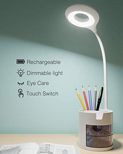 Lampada da Scrivania a 16 LED,Hepside Lampada da Tavolo Led USB Ricaricabile,lampada da scrivania senza fili Tocca Sensibile Controllo 3 Modalità di Illuminazione per Lettori di Notte,Bambino,Studio