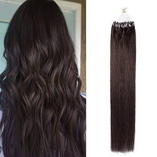 (40-60cm) Extension Capelli Veri con Microring Anelli 100 Ciocche 50g Loop Hair Extensions 40cm Remy Human Hair - 2 Marrone Scuro