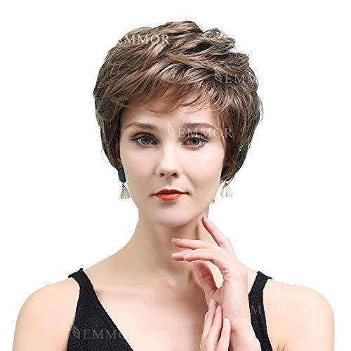 EMMOR parrucche corte per capelli umani castani per donna si fondono con fibra kanekalon sana parrucca taglio pixie colore misto, capelli naturali per uso quotidiano (colore 8T20)