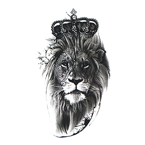 5 fogli Corona Arrogante Leone Personalità Impermeabile Duraturo Tatuaggio Temporaneo Adesivi