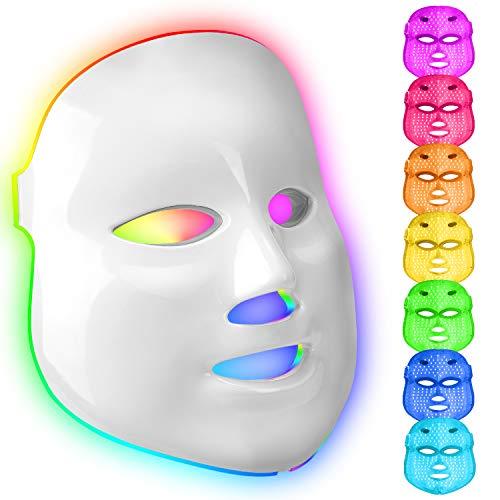 Maschera viso led professionale-7 colori fototerapia della pelle Maschera per la cura della pelle del viso per la rimozione delle rughe Acne Spot Ringiovanimento