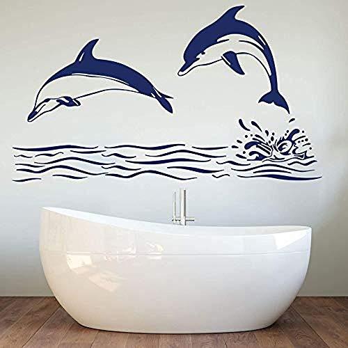 Adesivi murali decorazione tatuaggio da parete grande delfino mare oceano bambino vivaio bagno animale pesce decorazione onda delfino 99x56cm