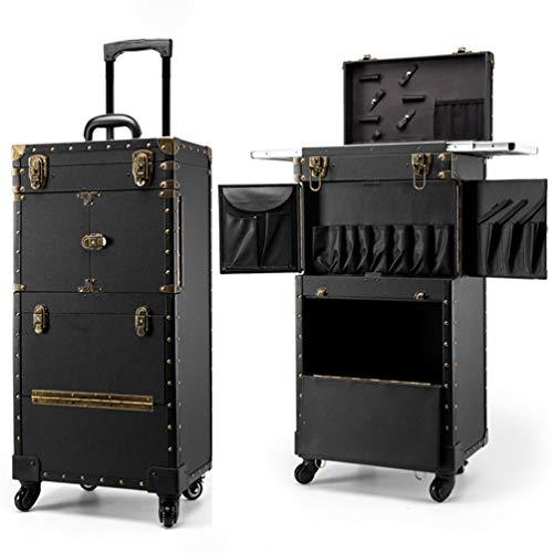 ZXCY Grande capacità Valigetta Trolley Bagagli su Ruote Beauty Case Multistrato Valigia dei Saloni Cassetta degli Attrezzi per Il Trucco da Viaggio per Salon Beauty Studio Parrucchiere,002