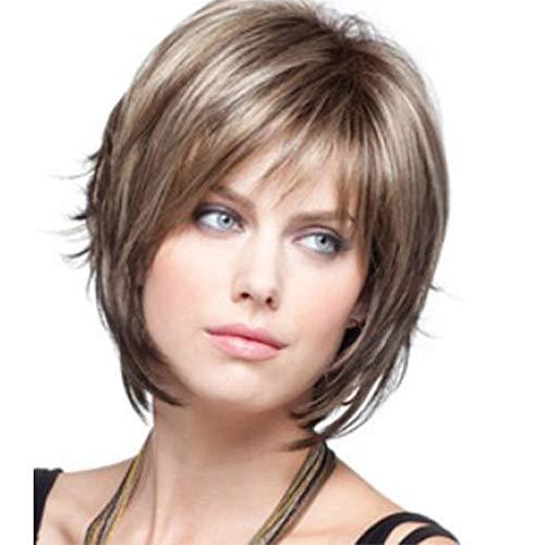 Fleurapance - Parrucca da donna a caschetto corto, super naturale, resistente al calore, bionda