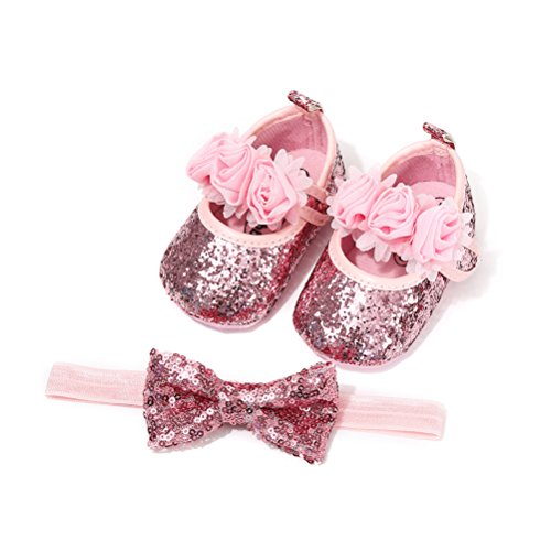 Scarpe Neonata Fiore con Cerchietto Battesimo Set Regalo, Bambina Paillette Velcro Scarpe Anti Scivolo Mary Jane Scarpe per Neonata Eleganti da Cerimonia (0-6 Mesi, Rosa)