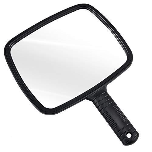 TRIXES Specchio Portatile Professionale per Salone Parrucchiere Barbiere con Manico - Specchio Trucco Portatile Grande e Comodo - Specchietto Dentista - Nero