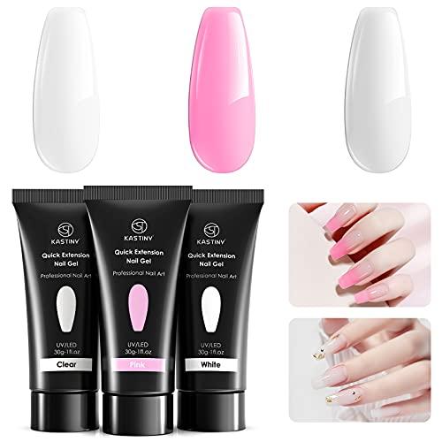 Kastiny Polygel Unghie Kit, 3 x 30g Bianco Trasparente Pink Gel per Unghie Ricostruzione Kit per Principianti Manicure Fai Da Te a Casa, Richiede Polimerizzazione a LED o Lampada UV