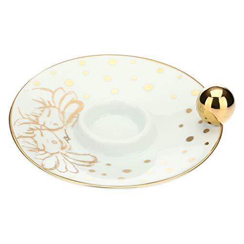 THUN ® - Porta Candela in Porcellana - Linea Angel Gold - ø per Candela 3,3 cm