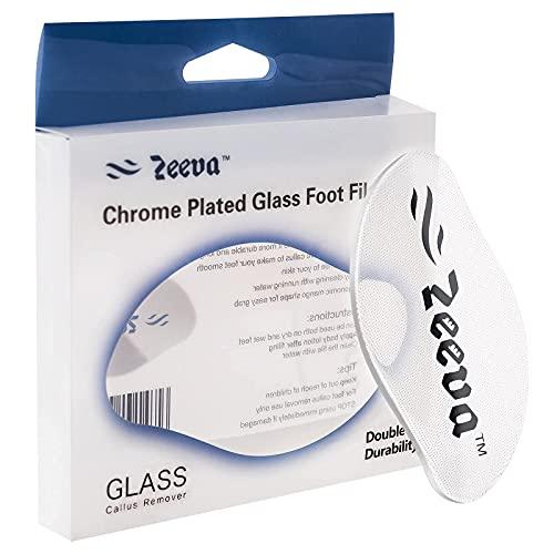 Lima per piedi in vetro cromato Zeeva, strumento per pedicure per la cura dei piedi, punti abrasivi a livello nanometrico, rimozione della cuticola