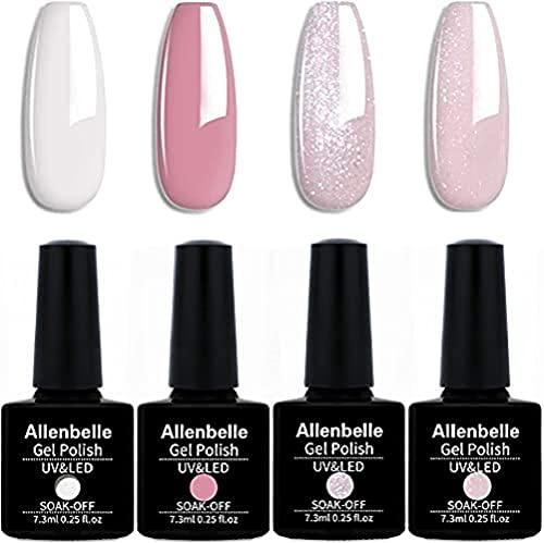 Allenbelle Smalto Semipermante Per Unghie Kit In Gel Uv Led Smalti Semipermanenti Per Unghie Nail Polish UV LED Gel Unghie (004)