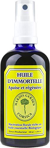 Olio di Elicriso Italiano (Helichrysum Italicum) 100ml. Fatto in Corsica. Pronto all'uso, macerato di fiori BIO con olio essenziale BIO di Elicriso