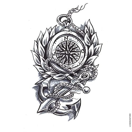 AVASTORE - Tatuaggio temporaneo da uomo con ancora e bussola, colore: blu