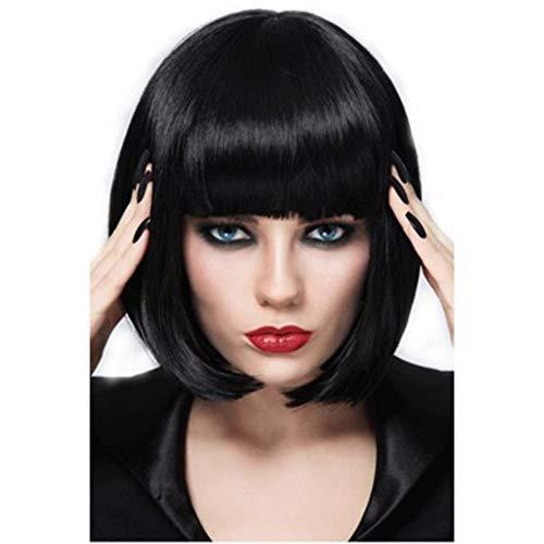 Parrucca sexy con caschetto corto, colore nero naturale, per donne e signore, capelli lisci, resistente al calore, con fasce per cosplay, feste all'aperto o come regalo (25,4 cm)
