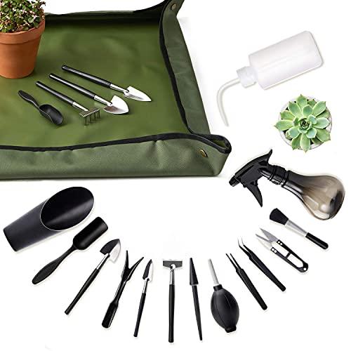 Set di Attrezzi Giardinaggio, 1 Tappetino da Giardino Trapianto Impermeabili + 14 Pezzi Kit da Giardinaggio, Per la Cura di Piante In Miniatura per Lavori di per Lavori di Coltivazione in Interni